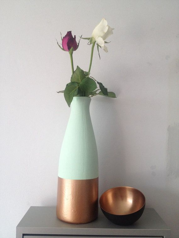 Lovely, unique pastel mint green and copper dipped bottom painted vase. On trend & modern. Metallic metal ceramics. Great shape