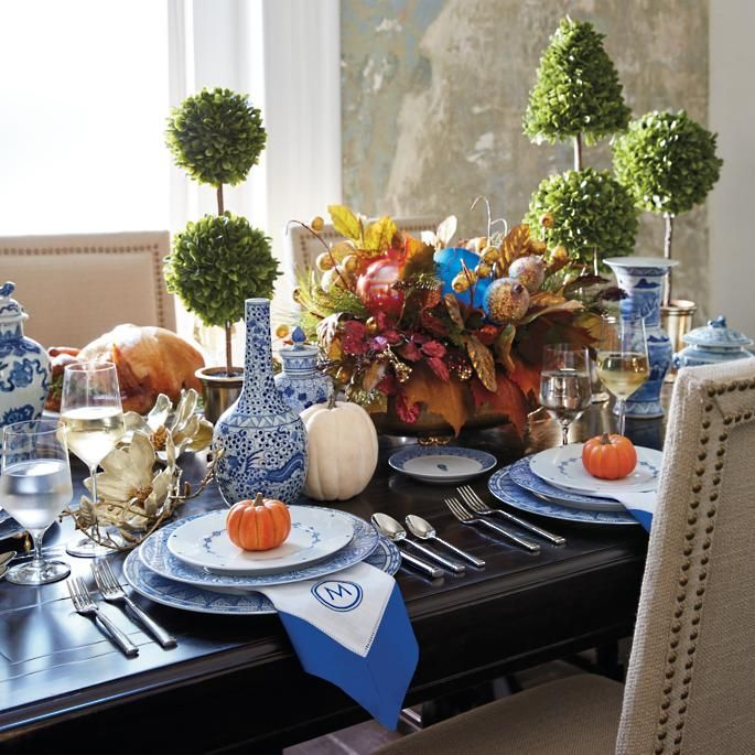 Frontgate Home Decor: Blue Feather Dinnerware