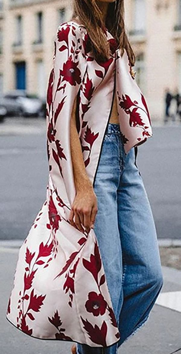 Heißer Verkauf! Frauen-Blumenfall-Bowknot-Raglan-Hülse modernes Outwwear Tippet