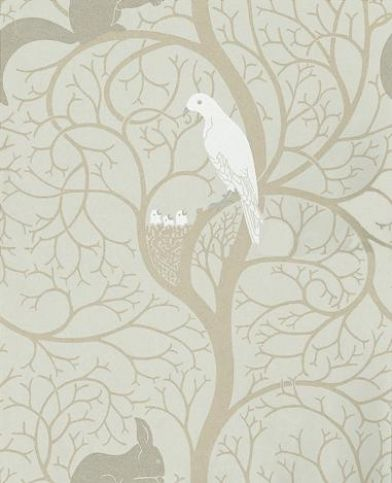 Squirrel & Dove (DVIWSQ103) - Sanderson Wallpapers - A faithful reproduction of an original C F A Voysey wallpaper design, with charming squirrel and doves set in a stylized tree. Available in 3 colourways, shown in the eggshell blue green and ivory. Please request a sample for true colour match.
