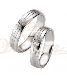 Ασημένιες βέρες γάμου με διαμάντι - breuning - 8069-8070