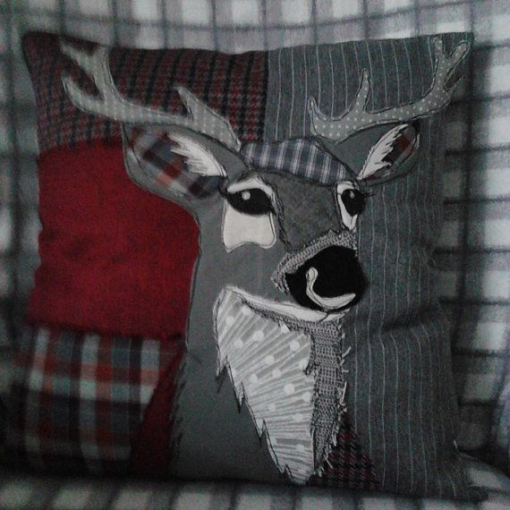 Patchwork+appliqued+Stag+Cushion.+by+PaddyMacDesigns+on+Etsy                                                                                                                                                     More
