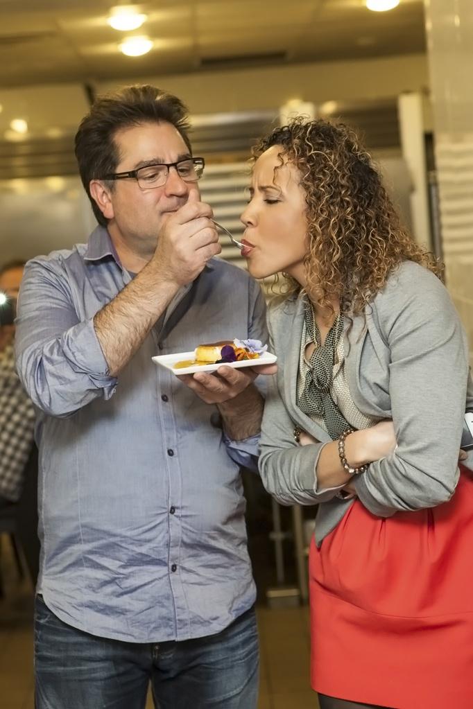 Bren Hererra Flan taste with Chef Guy Grossi