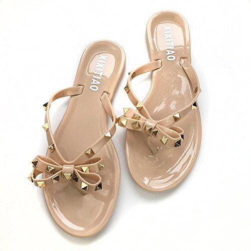 ef1c53670 Qilunn Womens Rivets Bowtie Flip Flops Jelly Thong Sandal Rubber Flat Summer  Beach Rain Shoes