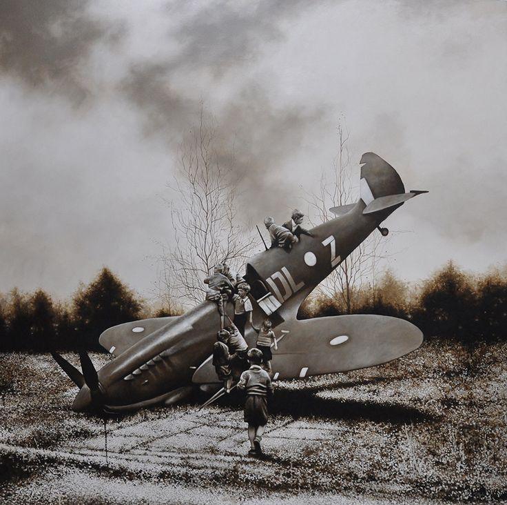 Michael Peck - Spitfire, 198cm x 198cm, Óleo sobre lienzo