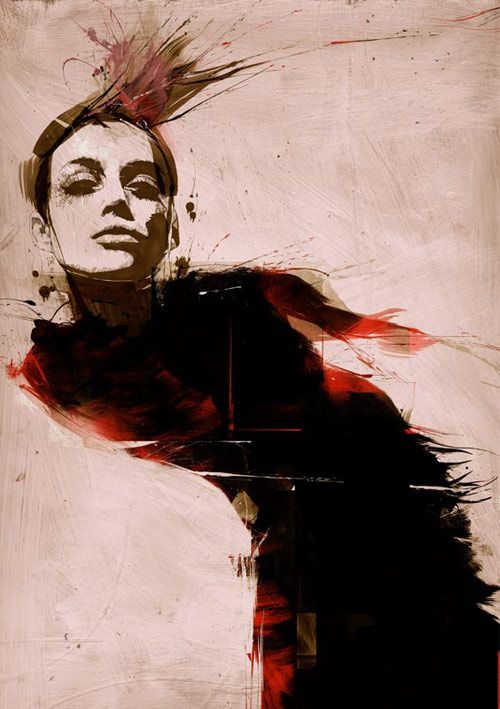 Russ Mills. A very comic, smearing of ink digitalised. Gives the impression of wind, movement and a distorted quality.