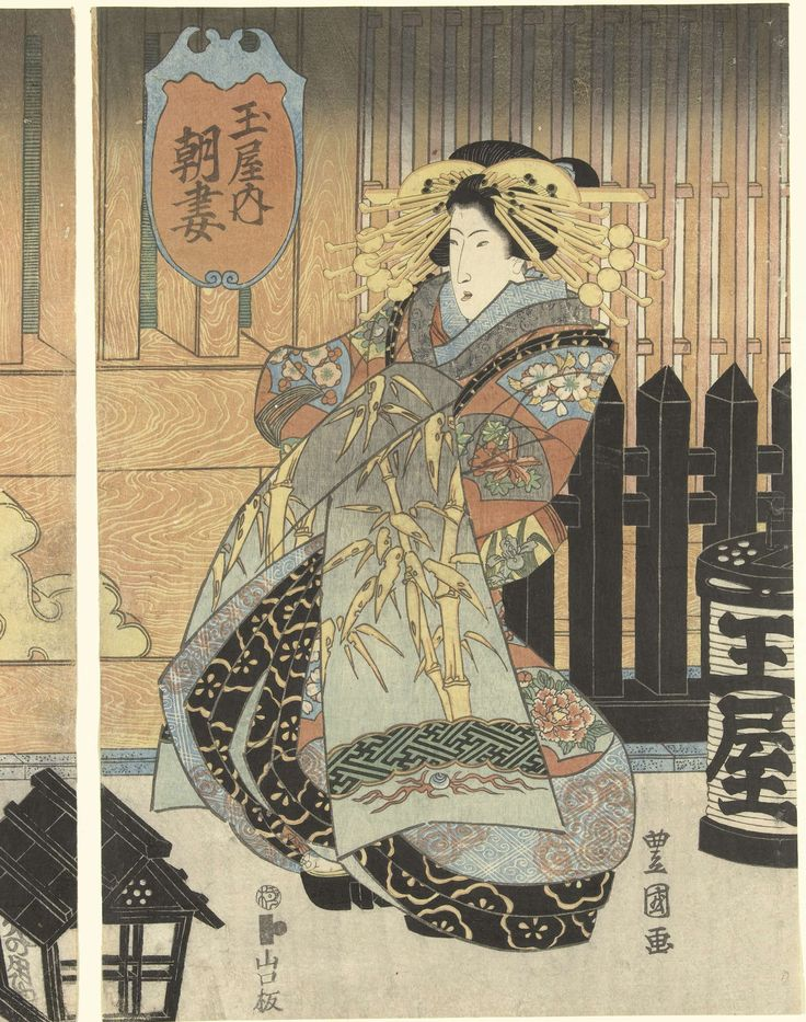 Drie courtisanes uit het Tamaya huis, Toyokuni (II) , Utagawa, Yamaguchiya Tobei, ca. 1828