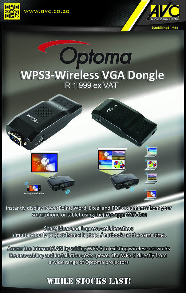 Wirelessly present with the Optoma WPS3 Dongle!!