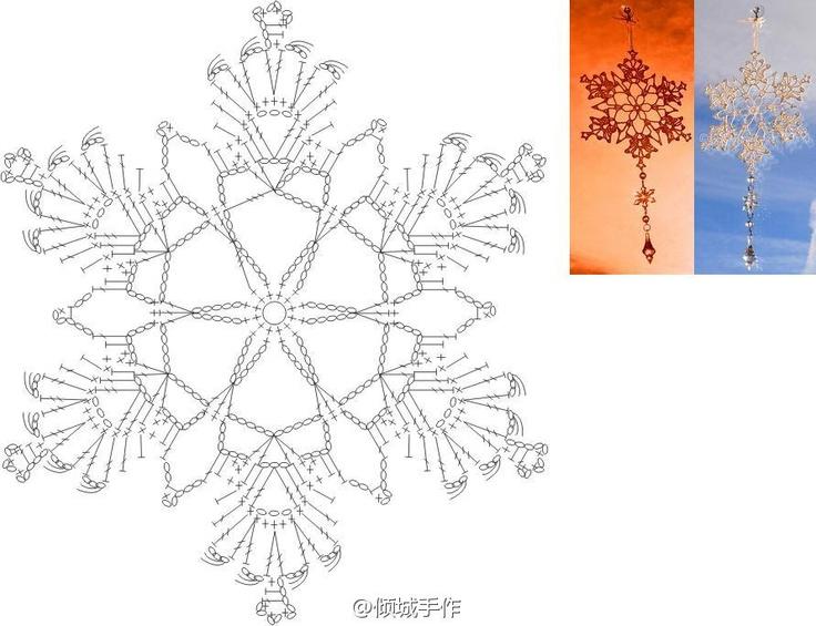 FREE DIAGRAM ~ crochet snowflake - Un bello copo de nieve...