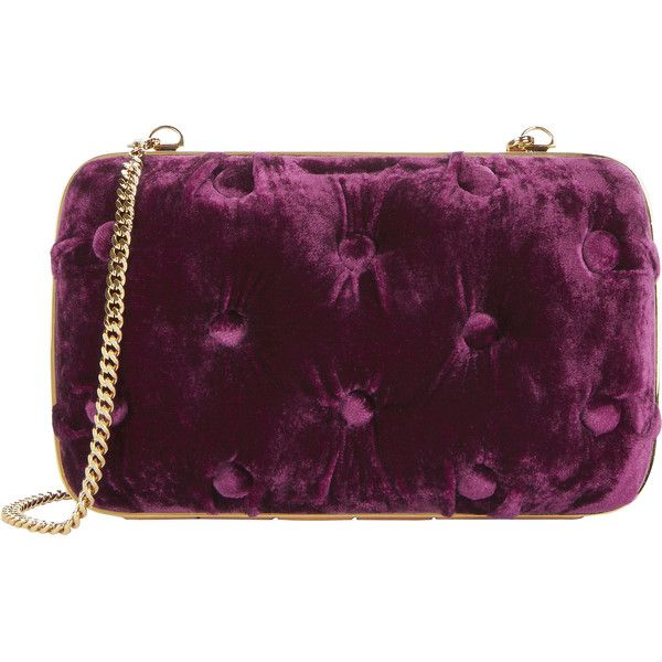Carmen Tufted Velvet Clutch (£560) ❤ liked on Polyvore featuring bags, handbags, clutches, red, velvet clutches, velvet handbags, chain handle handbags, purple purse and red handbags