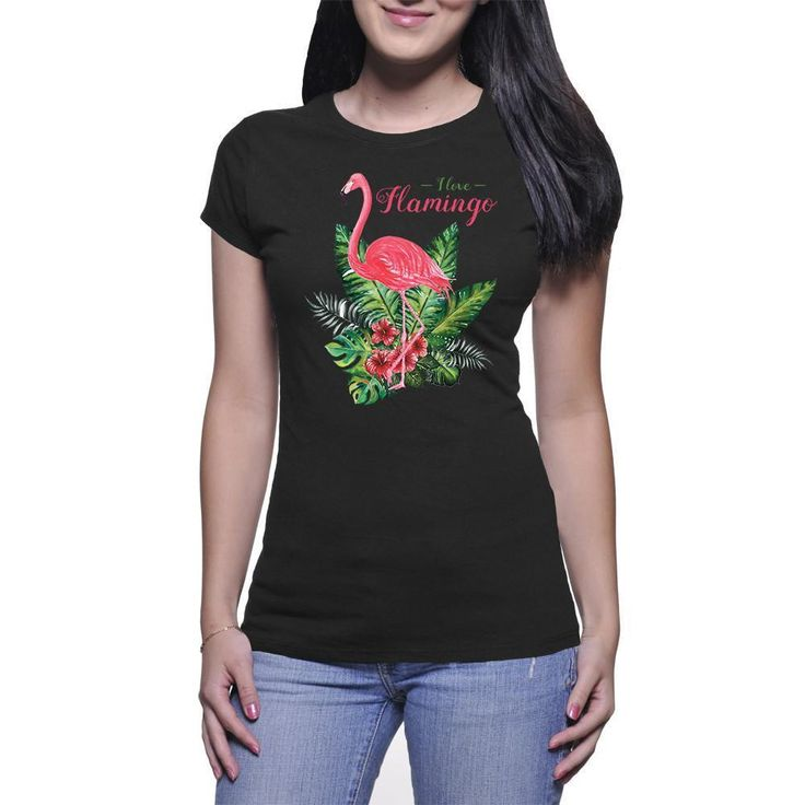 Women's Fine Jersey Short Sleeve I Love Flamingo With Leaves T-Shirt