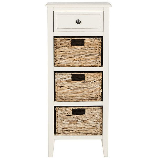 Safavieh Distressed White Debbie Drawer Side Table ($130) ❤ liked on Polyvore featuring home, furniture, tables, accent tables, white end table, white baskets, distressed end tables, storage end table and white accent table