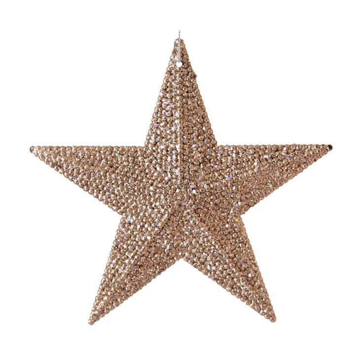 Beautiful champagne coloured shatterproof Christmas star ornament with glitter. This Christmas ornament is an elegant adThision to your artifical Christmas tree or other Christmas decoration. This item is available in various trendy colours.