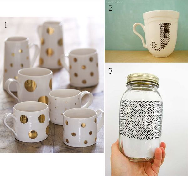 To kick off the week, we're sharing 3 really fun and easy DIY's using Sharpie's + Porcelain Pens! We've been seeing tons of these on Pinterest and we can't wait to try them out. Here are three of our favorites... 1 // This first one uses gold Sharpie pens and your favorite white mug. You can either draw these polka dots by hand, or make a stencil out of these paper reinforcement labels. Once you're happy with your design, bake at 350 degrees for 30 minutes. 2 // For this next one ...