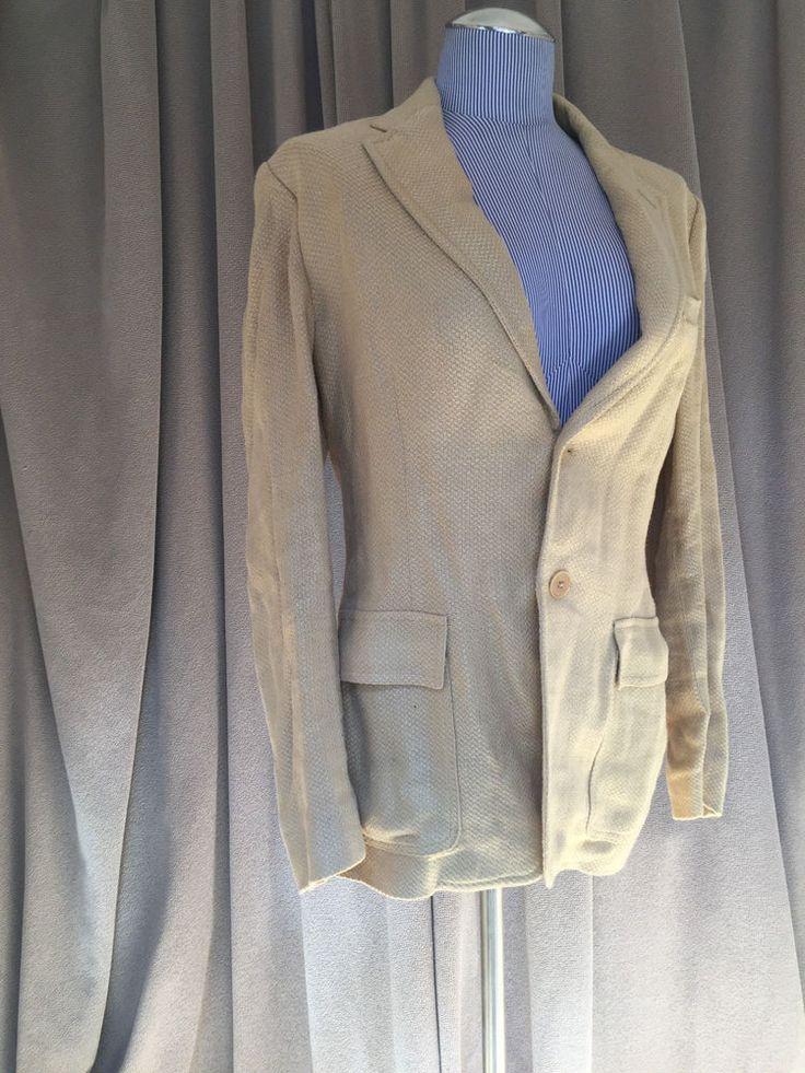 Ralph Lauren Black Label 100% linen camel khaki woven riding jacket 8 USA $925 #RalphLaurenBlackLabel #blazerjacket