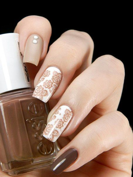 Cool nails, Exquisite nails, Fall nails 2016, Floral nails, flower nail art, Flowers on nails, Long nails, Nails with flower print