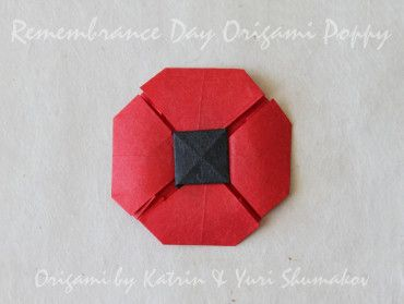 Red Remembrance Poppy, origami poppy designed by Yuri & Katrin Shumakov from Oriland. Made from a single sheet of paper red on one side, black on the other. Add a pin to the back and wear as a brooch.