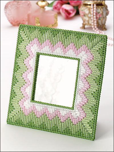 Pastel Frame Mini Mirror free plastic canvas pattern of the day from freepatterns.com 10/1/13