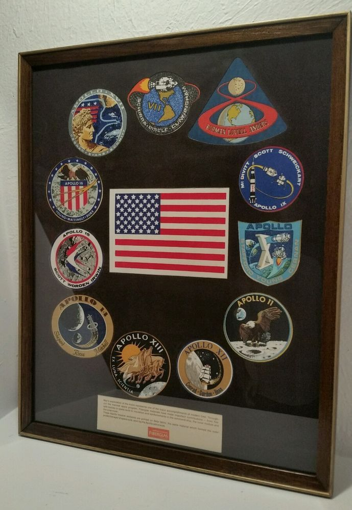 Apollo Missions Owens Corning Beta Cloth Patches Flag Framed NASA STAR WARS 1969
