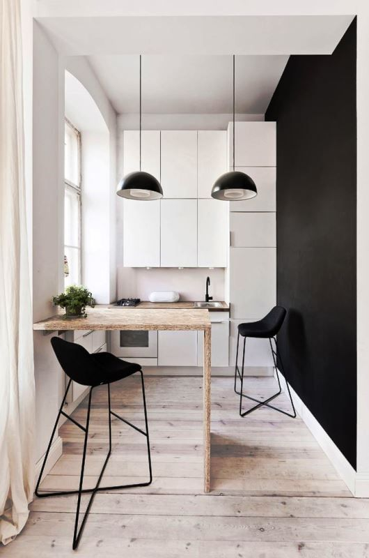 hallway turned into a small nordic kitchen--cute