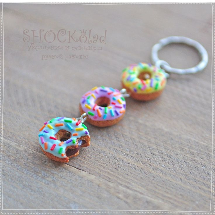 polymer clay keychain donuts                                                                                                                                                                                 More