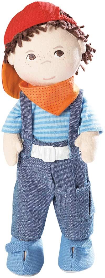 Muñeco Pancho de Haba. Con camiseta, tejanos con tirantes, zapatos, gorra de béisbol, pañuelo.