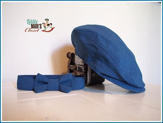 Our latest boys flatcap in our new season molten blue.  Matching bow tie.