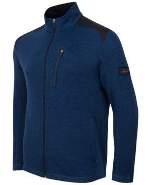 Greg Norman For Tasso Elba Men's Big & Tall Fleece Jacket, Only at Macy's - Blue XLT