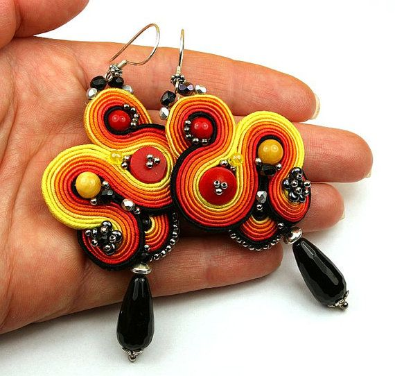 Earrings soutache braid fiery volcano