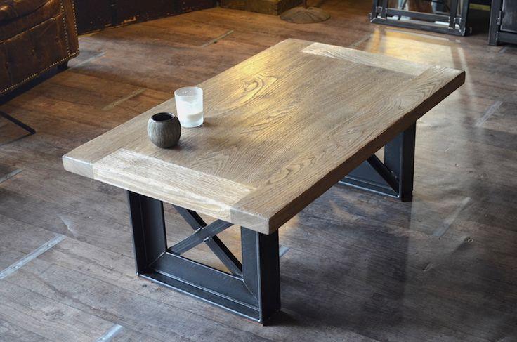 Cette table basse est r alis e la demande et sur mesure mat riaux acier - Table basse chene huile ...