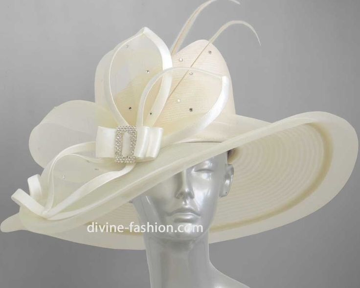 Women's Dressy Church Hat, Derby hat, Horsehair, Rhinestone, Cream-39524