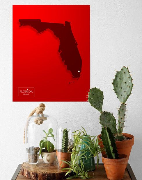 Customizable USA Florida Miami State Map printable Poster,Graphic Design Personalized Print,Home decor wall art Gift,Digita Instant Download by MirDesigns on Etsy