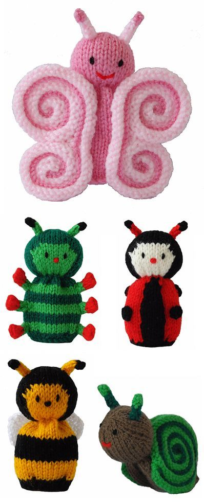 Free Knitting Patterns for Butterfly and Cutie Crawlies - This set from Knitables features a butterfly, caterpillar, ladybug, bee, and snail. Finished Height Approximately 12cm. The butterfly's wings are created ingeniously by rolling knitted fabric. Great use for scrap yarn. Designed bySarah Gasson of Knitables.