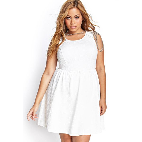 Forever 21 Plus Women's  Plus Size Matelass Skater Dress ($14) ❤ liked on Polyvore featuring plus size women's fashion, plus size clothing, plus size dresses, cream, plus size, cream skater dress, elastic waist dress, cream dress, plus size full length dresses and womens plus dresses