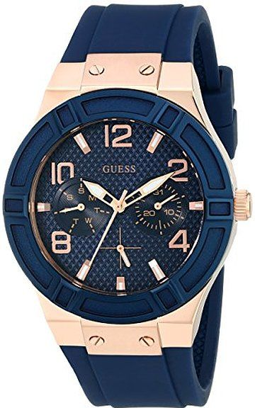 GUESS Women's U0571L1 Iconic  Blue Multi-Function Watch with Silicone Strap