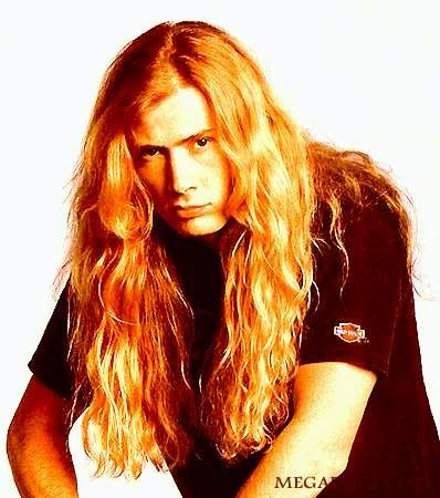 Photo of Dave Mustaine heavy metal hairstyle.