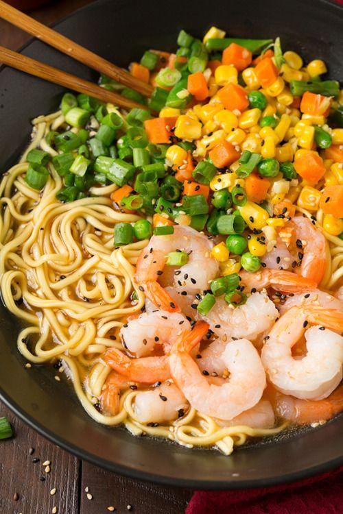 shrimp and veggie miso ramen