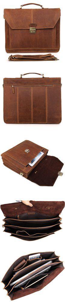 """Image of Men's Cowhide Leather Handmade Briefcase Messenger 16"""" Laptop #Bag Travel #Handbag"""