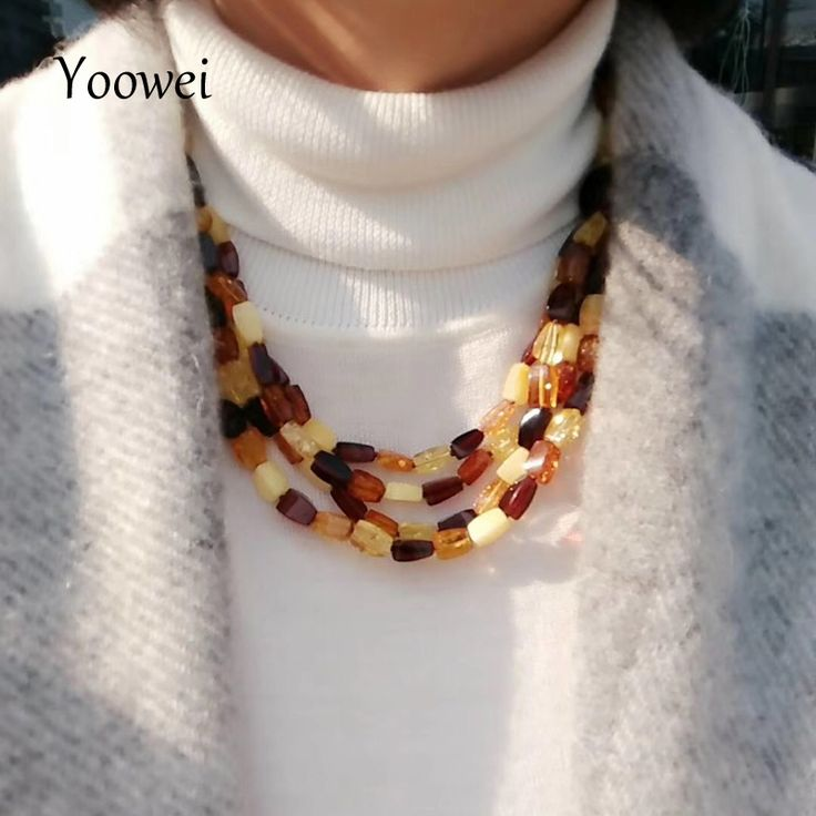 Yoowei 41.3g 51cm Wholesale Women Amber Necklace Gogerous Gift Amber Jewelry Sweater Chain Baltic Amber Necklace Collar for Mom