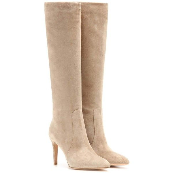 Gianvito Rossi Dana Suede Knee-High Boots ($1,115) ❤ liked on Polyvore featuring shoes, boots, botas, heels, beige, gianvito rossi, suede heel boots, suede boots, beige knee high boots and knee heel boots