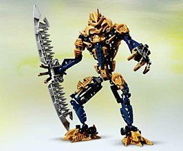 """LEGO BIONICLE® Brutaka by LEGO. $129.95. Includes gold-colored armor and elements. Brutaka stands over 10"""" (over 25 cm) high. Includes Mask of Dimensional Gates. Double-blade is 10"""" (over 25 cm) long. From the Manufacturer                Former guardian of the sacred Temple of Life who has now joined forces with the Piraka. Brutaka uses his giant rotating blade to cut through any obstacles in his obsessive search for the Mask of Life.                                    Product..."""