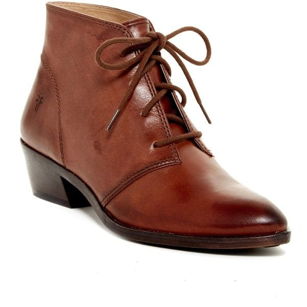 Frye Ruby Leather Chukka Boot (250 CAD) ❤ liked on Polyvore featuring shoes, boots, ankle boots, brown, pointed toe ankle boots, leather lace up boots, short boots and short brown boots