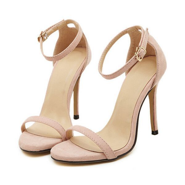 Nude Stiletto High Heel Ankle Strap Sandals ($30) ❤ liked on Polyvore featuring shoes, sandals, heels, sapatos, high heels, nude, peep toe sandals, ankle tie sandals, high heels stilettos and nude heel shoes