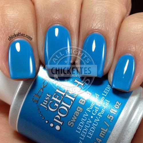 ibd Just Gel Polish in Swag Bag - a bright medium blue with a cream finish.