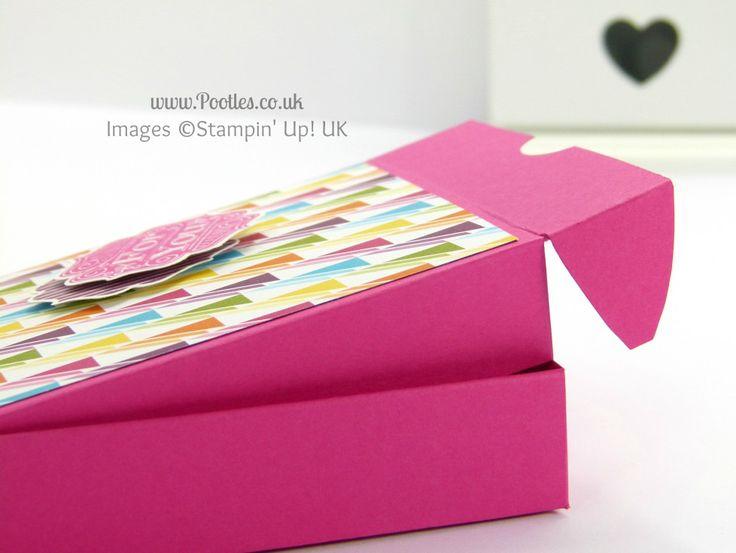 Stampin' Up! UK Demonstrator Pootles - 4x4 Traditional Pizza Box Tutorial Opening Detail