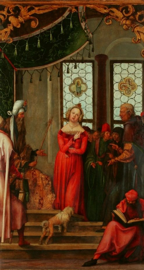 Discussion between Saint Catherine and the pagan philosophers from Saint Catherine poliptych by Hans Süß von Kulmbach in Kraków, 1514-1515 (PD-art/old), Bazylika Mariacka w Krakowie, commissioned by Jan Boner for Boner Chapel in the Town Church of Saint Mary in Kraków