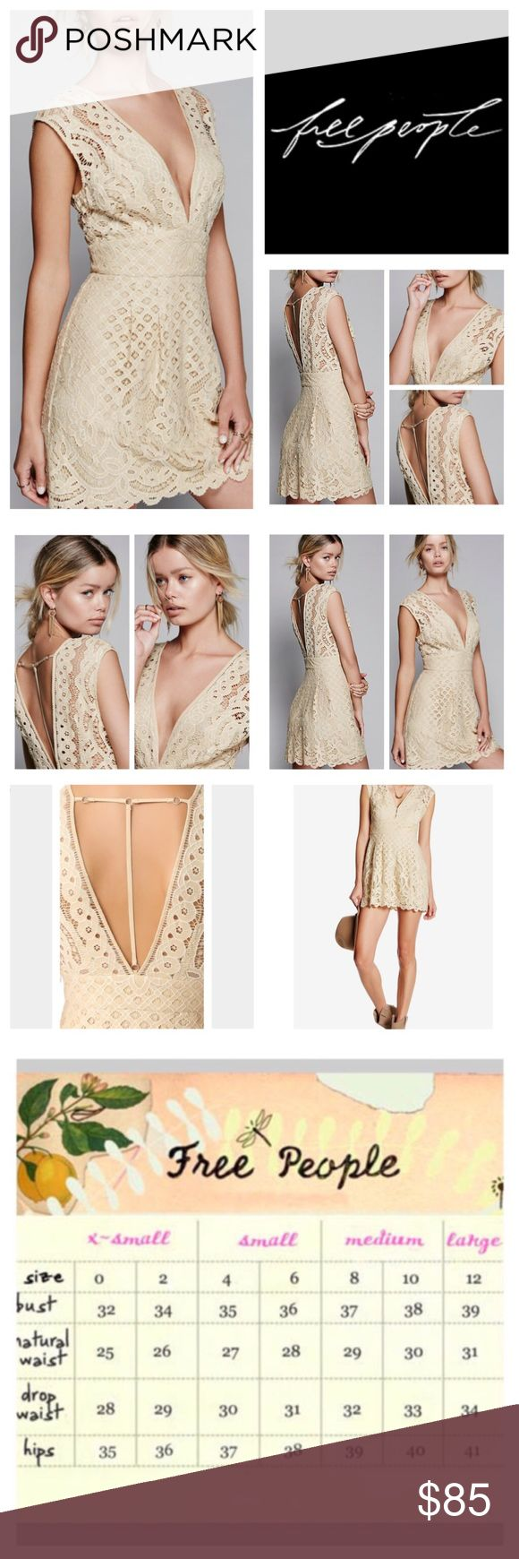"""Free People One Million Lovers Lace Mini.  NWT. Free People One Million Lovers Lace Mini Dress, 60% nylon, 40% cotton, washable, 17"""" armpit to armpit (34"""" all around) 30"""" waist no stretch, 32.5"""" length, lovely lacey dress featuring a front and back plunging V with a cute back strappy detail, scalloped hemline, Femme fit-n-flare shape, two hook-n-eye front closure, hidden side zip closure, lined, measurements are approx.  NO TRADES Free People Dresses Mini"""