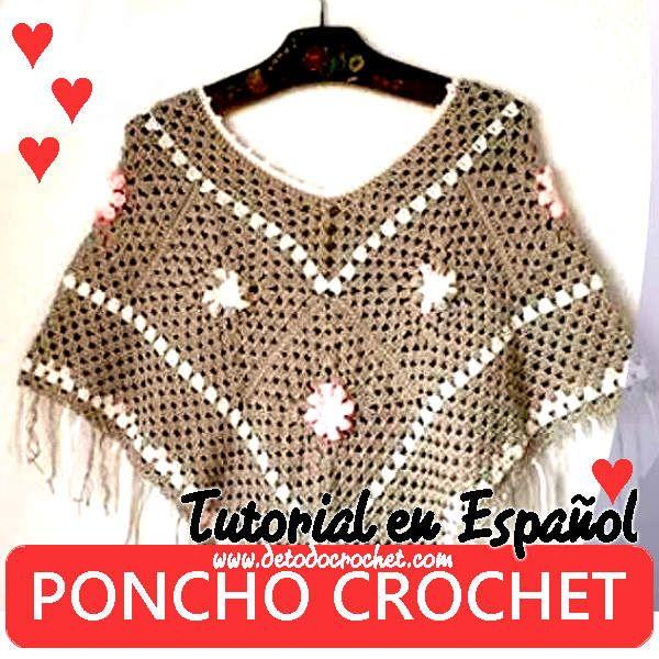 como se teje poncho fácil a crochet