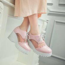Estilo coreano senhoras único sapatos dos pés redondos rede de malha de verão respirável lace up wedge heel pure mulheres ocasionais de oxfords160507-4(China (Mainland))