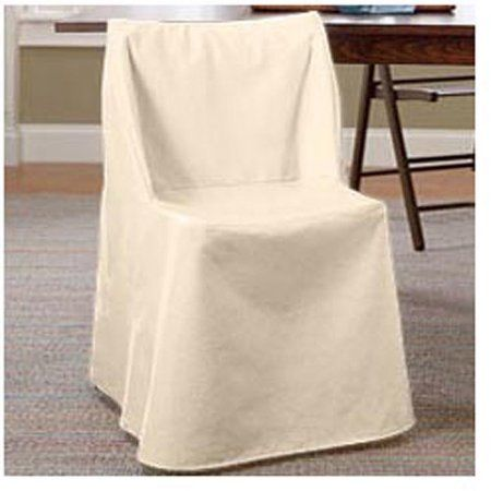 sure fit cotton duck folding dining chair slipcover beige - Walmart Fold Up Chairs